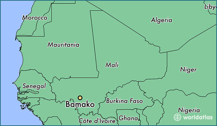 map showing the location of Bamako