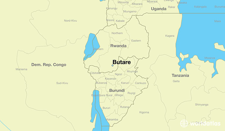 map showing the location of Butare