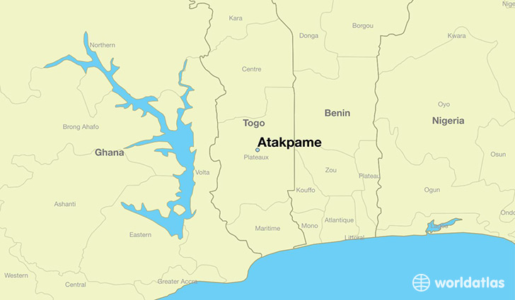 map showing the location of Atakpame