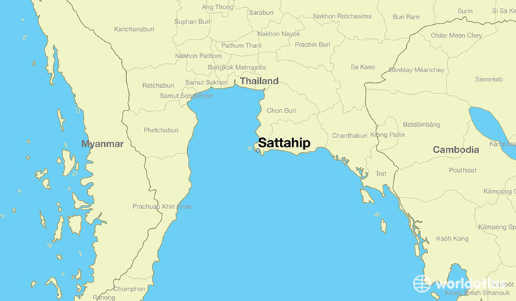 map showing the location of Sattahip