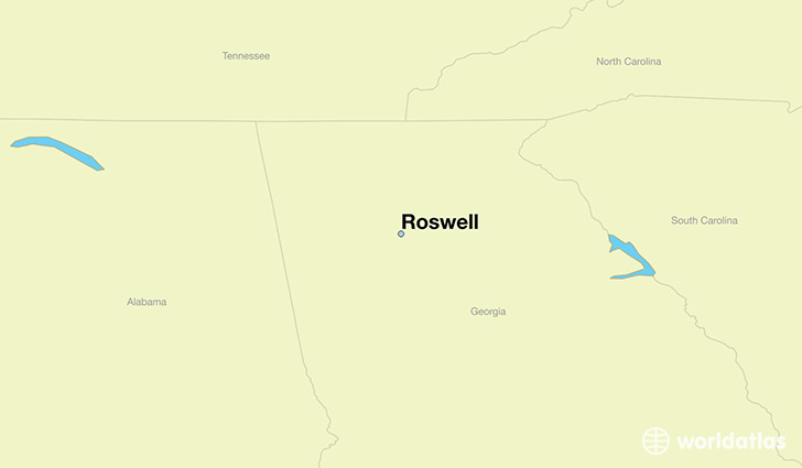 map showing the location of Roswell