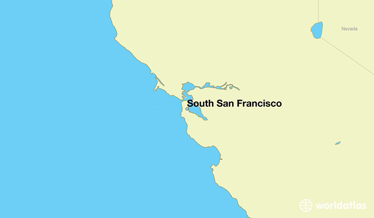map showing the location of South San Francisco