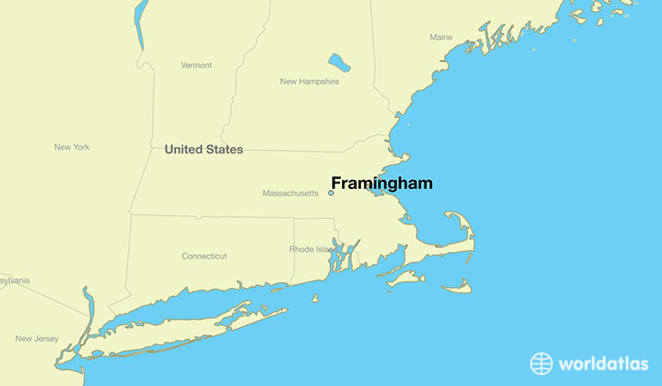map showing the location of Framingham