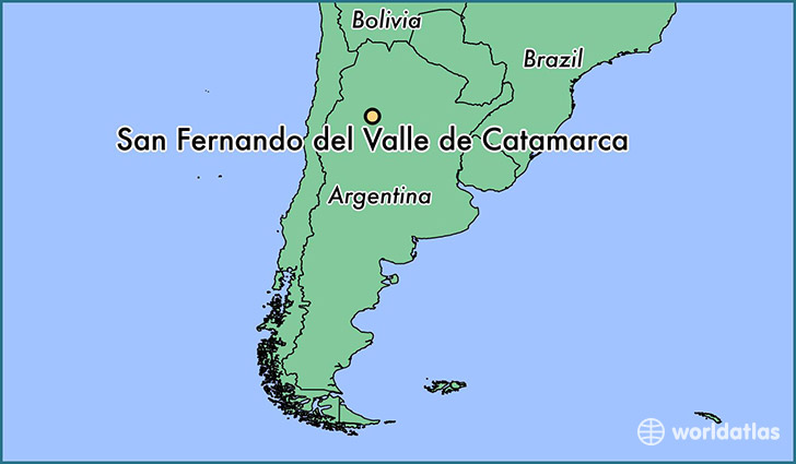 map showing the location of San Fernando del Valle de Catamarca