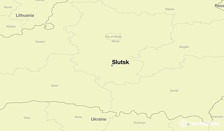 map showing the location of Slutsk