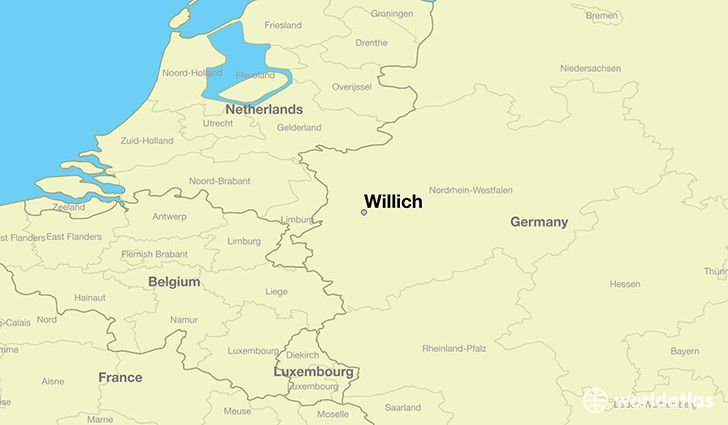 map showing the location of Willich