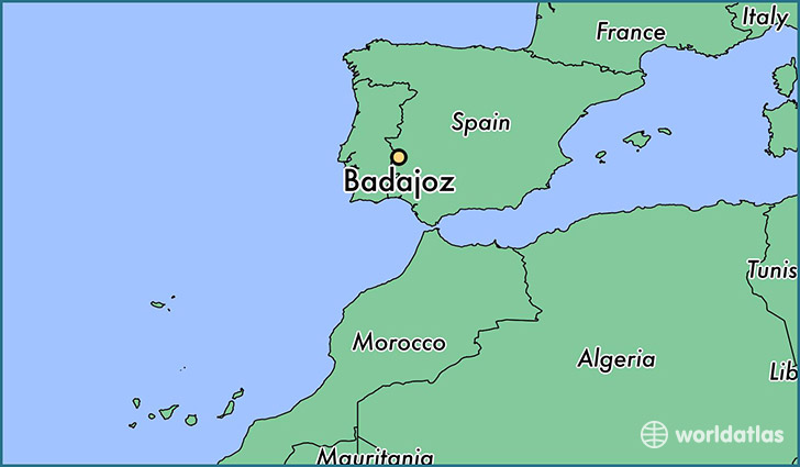 map showing the location of Badajoz