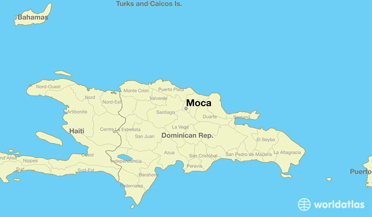 map showing the location of Moca