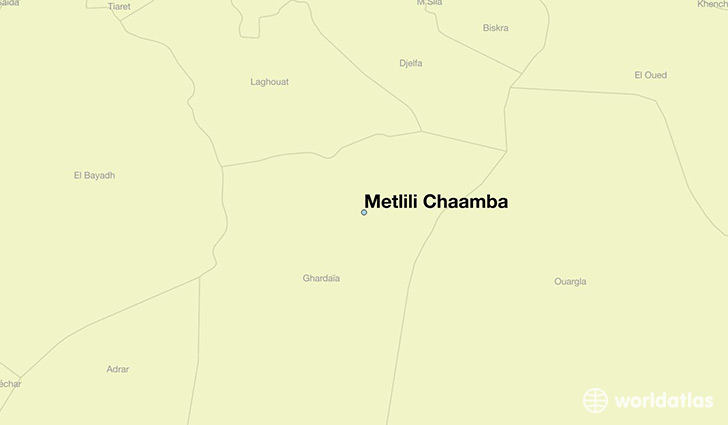 map showing the location of Metlili Chaamba