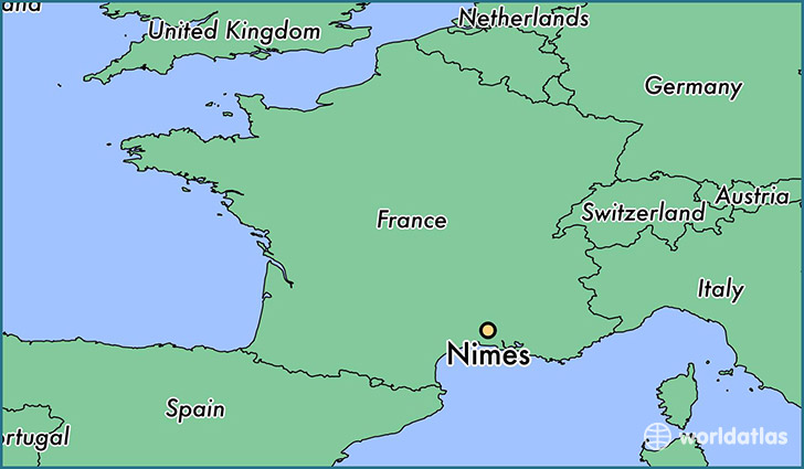 map showing the location of Nimes