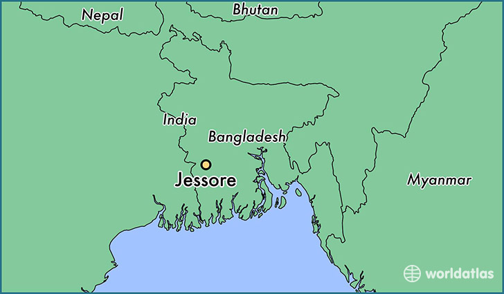 map showing the location of Jessore