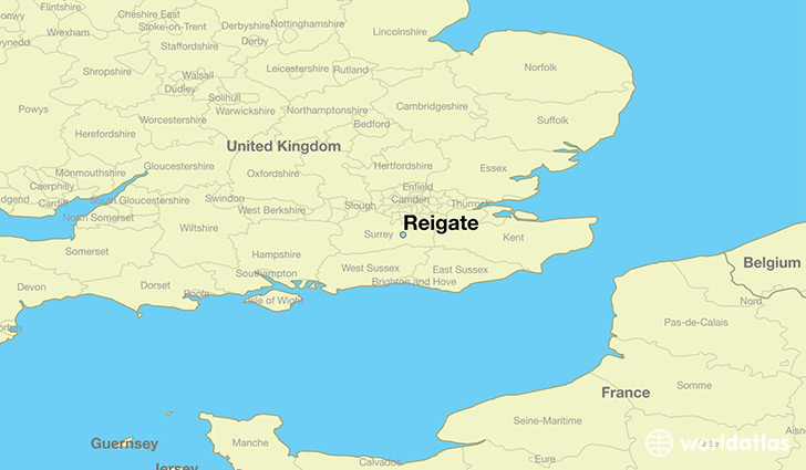 map showing the location of Reigate