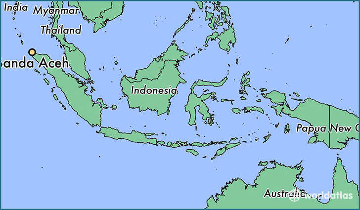 map showing the location of Banda Aceh