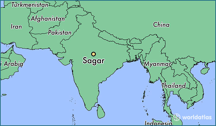 map showing the location of Sagar