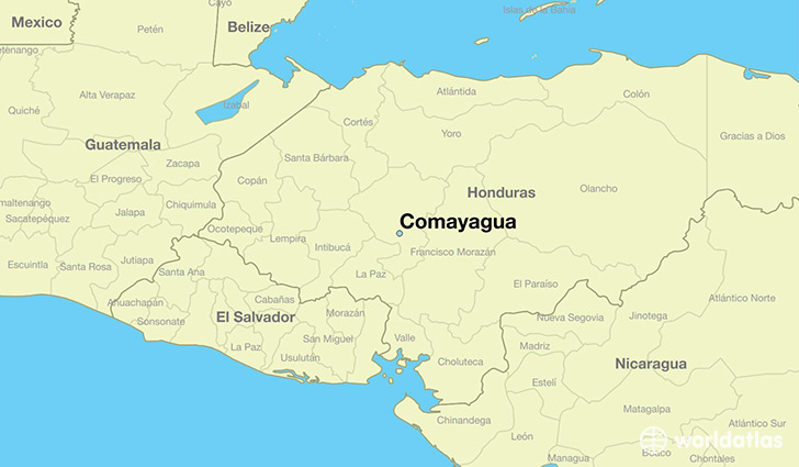 map showing the location of Comayagua