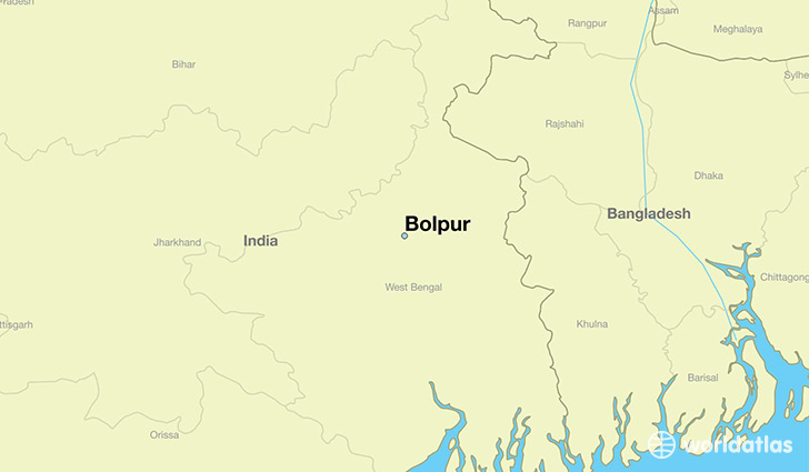 map showing the location of Bolpur