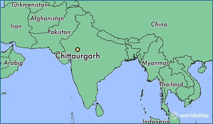 map showing the location of Chittaurgarh