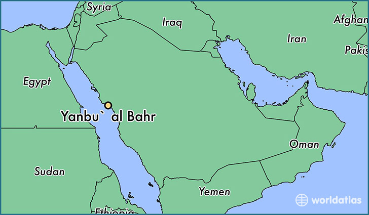 map showing the location of Yanbu` al Bahr