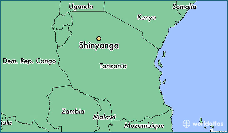 map showing the location of Shinyanga