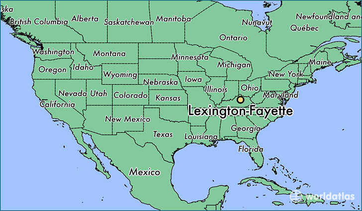 map showing the location of Lexington-Fayette