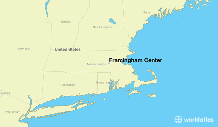map showing the location of Framingham Center