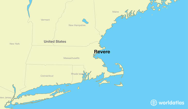 map showing the location of Revere