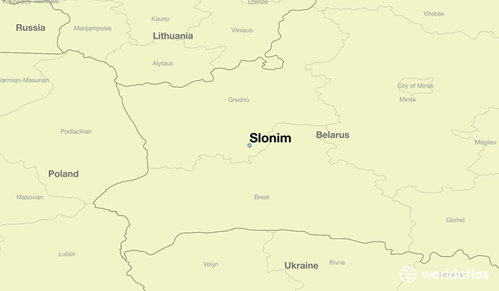 map showing the location of Slonim