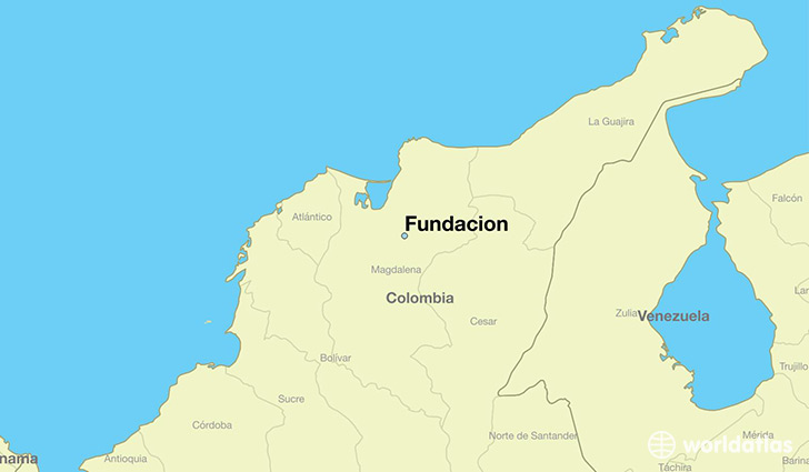 map showing the location of Fundacion
