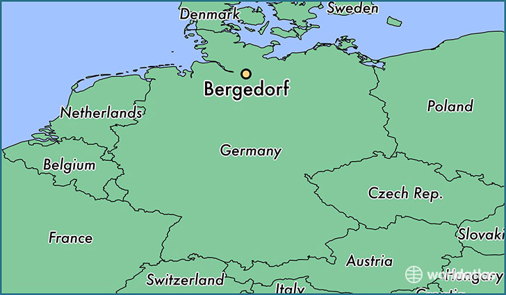 map showing the location of Bergedorf
