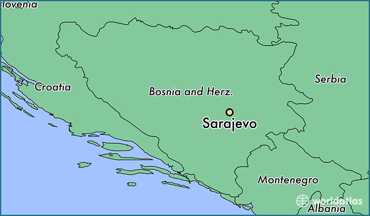map showing the location of Sarajevo