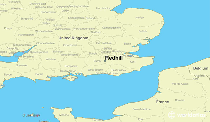 map showing the location of Redhill