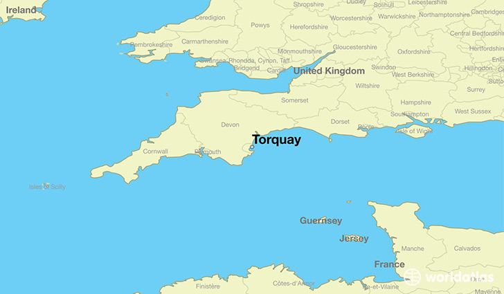 map showing the location of Torquay