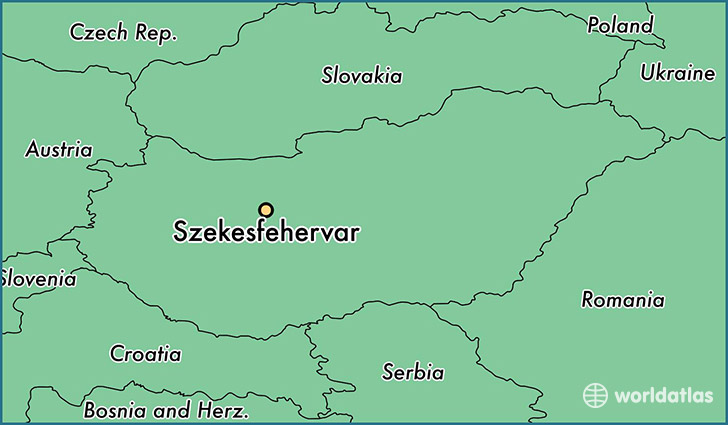 map showing the location of Szekesfehervar