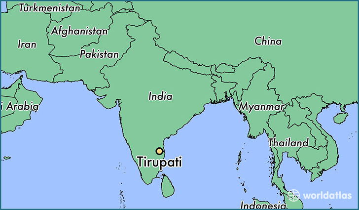 map showing the location of Tirupati