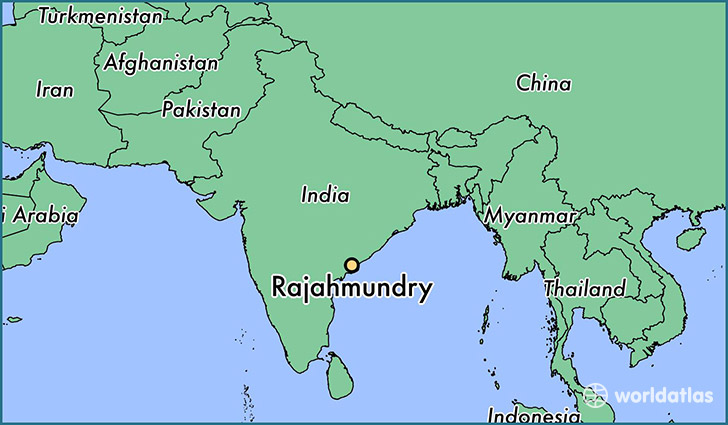 map showing the location of Rajahmundry