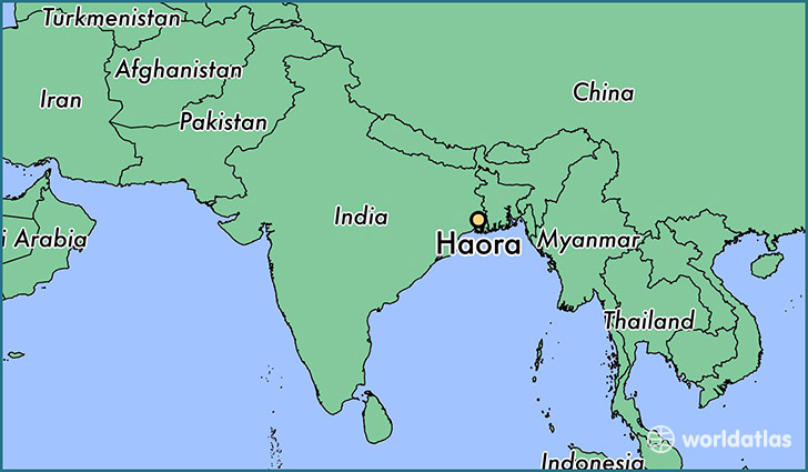map showing the location of Haora