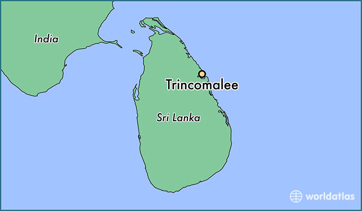 map showing the location of Trincomalee