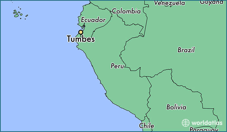 map showing the location of Tumbes