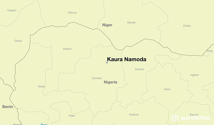 map showing the location of Kaura Namoda