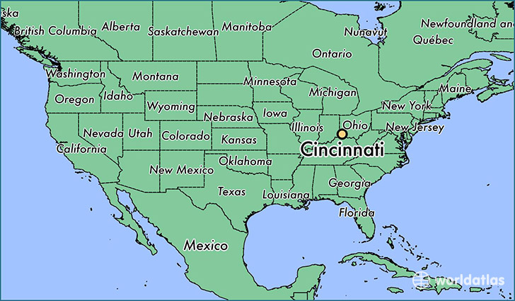 Where is Cincinnati OH Cincinnati Ohio Map WorldAtlascom