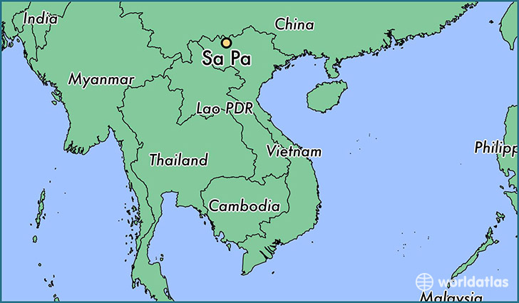 map showing the location of Sa Pa