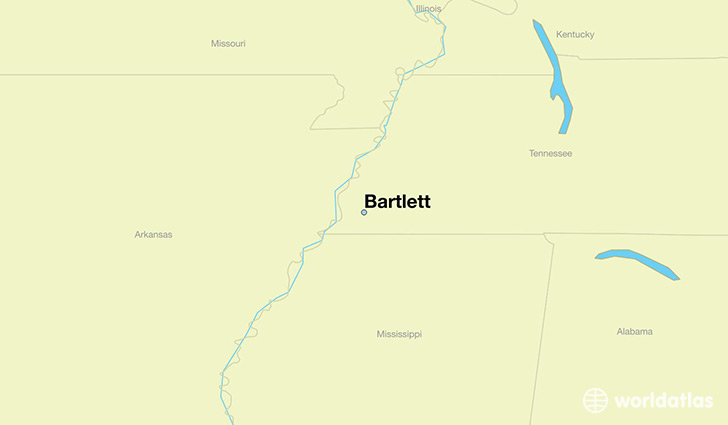 map showing the location of Bartlett
