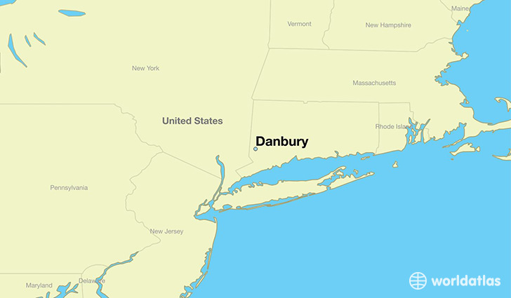 map showing the location of Danbury