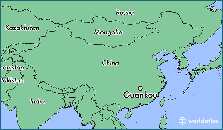map showing the location of Guankou