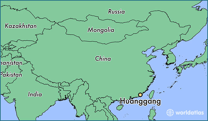 map showing the location of Huanggang