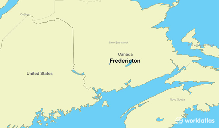 map showing the location of Fredericton