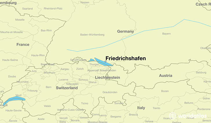 map showing the location of Friedrichshafen