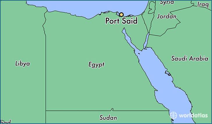 Where is port said egypt port said muhafazat bur said map map showing the location of port said publicscrutiny Gallery