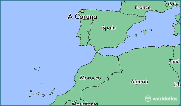 map showing the location of A Coruna