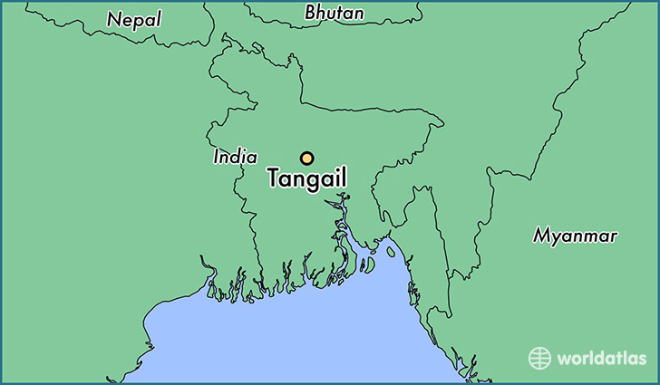 map showing the location of Tangail